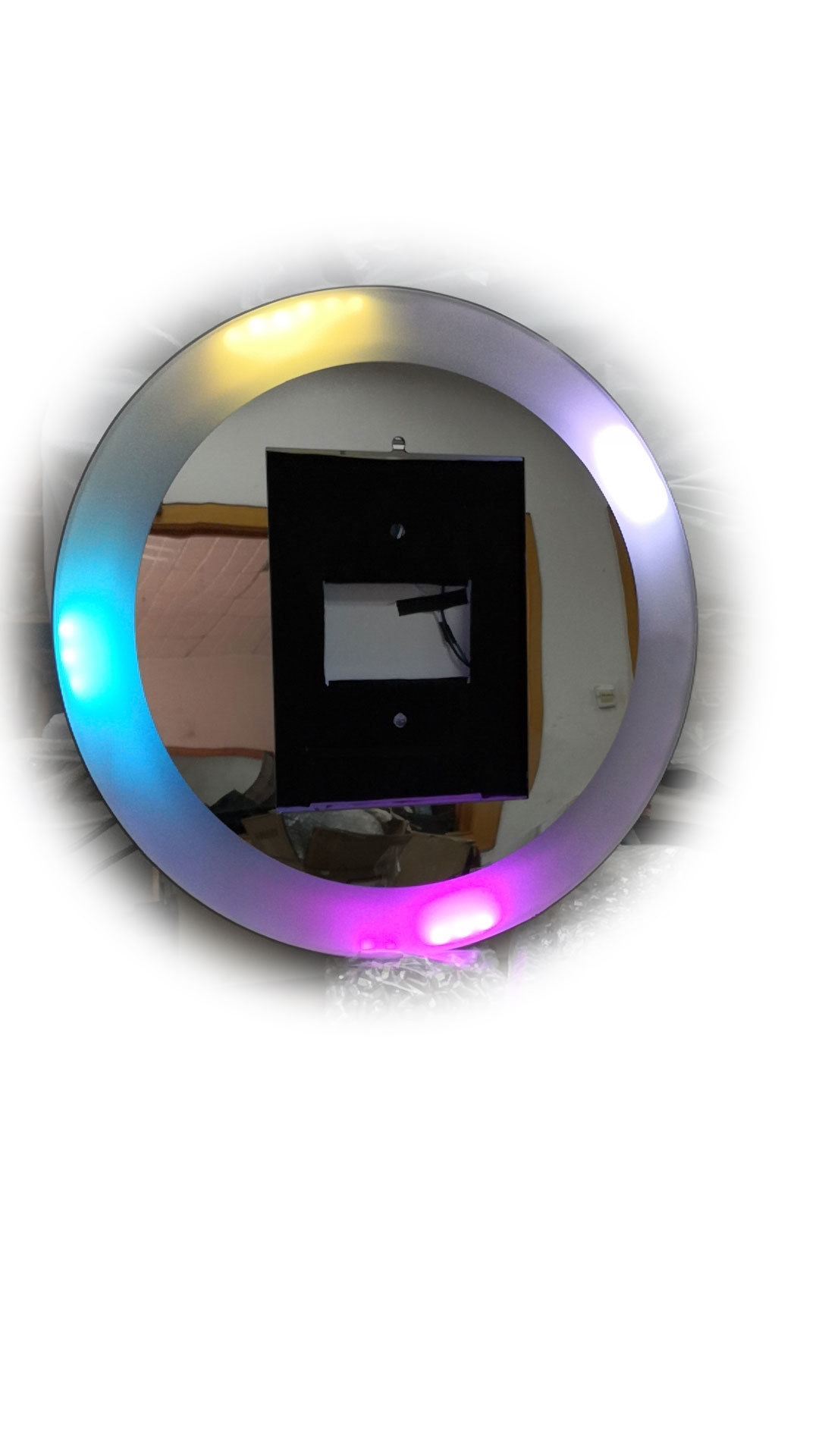 plastic ring light adjust 3200 to 6500 and RGB trip color music for ipad 10.5 photo booth roamer